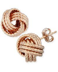 Macy's Rope Love Knot Stud Earrings In 14k Yellow Or Rose Gold - Metallic