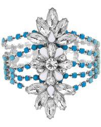 Steve Madden Silver-tone Crystal & Stone Flower Statement Bracelet - Multicolour
