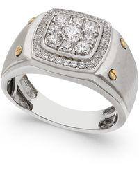 Macy's Men's Diamond Cluster Ring (1 Ct. T.w.) In 10k White And Yellow Gold - Metallic