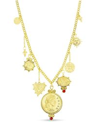 Steve Madden Figure Coin, Stone And Sun Charms Necklace In Yellow Goldtone Alloy - Metallic