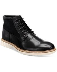 Alfani Rynier Leather Lace-up Boots, Created For Macy's - Black