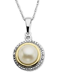 Macy's - 14k Gold And Sterling Silver Necklace, Cultured Freshwater Pearl And Diamond Accent Pendant - Lyst