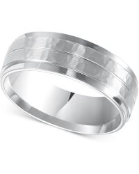 Macy's - Men's Hammered Comfort Fit Wedding Band In 14k White Gold - Lyst