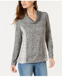 Style & Co. - Cowl Neck Plaid-back Top, Created For Macy's - Lyst