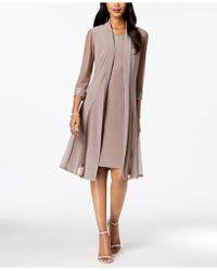 R & M Richards Embellished Dress & Duster Jacket - Multicolour