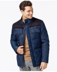 Cole Haan - Mixed Media Quilted Jacket - Lyst