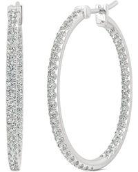 Charles & Colvard - Moissanite Large Hoop Earrings (1-1/10 Ct. Tw. Diamond Equivalent) In 14k White Gold - Lyst