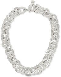 Robert Lee Morris Linked & Connected Silvertone Circle Collar Necklace - Metallic