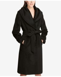 f893ab82251 Lyst - DKNY Double Breasted Long Wool Blend Military Coat (petite ...