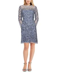 Adrianna Papell Embellished Illusion Sheath Dress - Blue