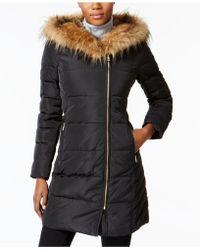 Cole Haan - Faux-fur-trim Asymmetrical Puffer Coat - Lyst
