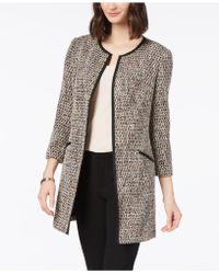 Charter Club - Tweed Contrast-trim Long Jacket, Created For Macy's - Lyst