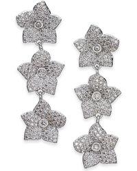 Kate Spade - Silver-tone Pavé Flower Triple Drop Earrings - Lyst