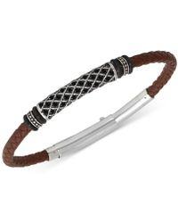 Macy's Black Diamond Braided Leather Bracelet (1/4 Ct. T.w.) In Stainless Steel - Metallic