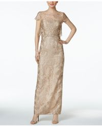 Adrianna Papell - Petite Embroidered Mesh Popover Gown - Lyst