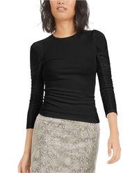 Bar Iii Ruched Puffed-shoulder 3/4 Sleeve T-shirt, Created For Macy's - Black