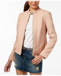 Cole Haan - Seamed Leather Jacket - Lyst