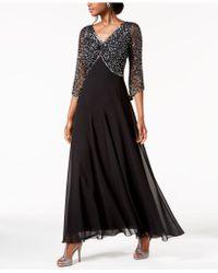 J Kara Embellished 3/4-sleeve Gown - Black