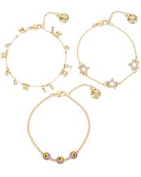 BCBGeneration Festival Eye & Star Charm Delicate Bracelet Set - Metallic
