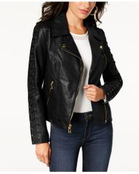 Guess - Leather Lace-up Moto Jacket - Lyst