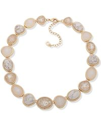 """Anne Klein Gold-tone Crystal, Stone & Mother-of-pearl Collar Necklace, 16"""" + 3"""" Extender - White"""