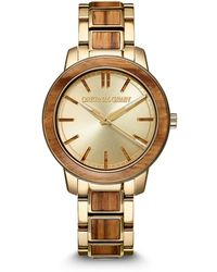 Original Grain Reclaimed From Zebrawood Paired With Gold-tone Stainless Steel Bracelet Watch 36mm - Metallic