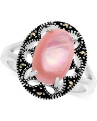 Macy's - Marcasite And Pink Shell Filigree Ring In Fine Silver-plate - Lyst