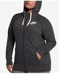 6418edb0c449 Lyst - Nike Plus Size Sportswear Gym Vintage Zip Hoodie in Pink