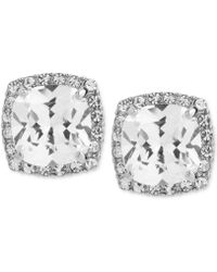 Betsey Johnson - Silver-tone Square Crystal And Pavé Stud Earrings - Lyst