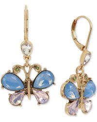 Betsey Johnson Gold-tone Crystal Butterfly Drop Earrings - Pink