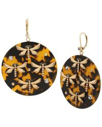 Betsey Johnson Dragonfly Tortoise Drop Earrings - Brown