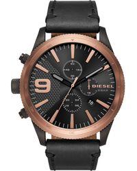 DIESEL - Men's Chronograph Rasp Chrono Black Leather Strap Watch 50mm Dz4445 - Lyst