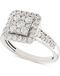 Macy's Diamond Square Halo Cluster Engagement Ring (1 Ct. T.w.) In 14k White Gold - Multicolour