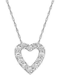 Macy's - Diamond Heart Pendant Necklace In 14k White Gold (1/4 Ct. T.w.) - Lyst