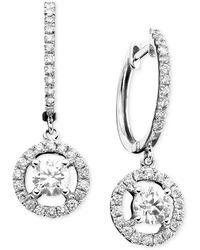 Macy's - 14k White Gold Earrings, Diamond Drop (7/8 Ct. T.w.) - Lyst