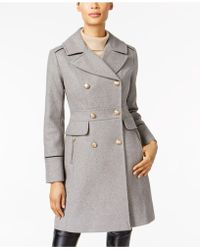 Vince Camuto - Contrast-trim Double-breasted Peacoat - Lyst
