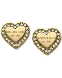 Michael Kors - Crystal Heart Stud Earrings - Lyst