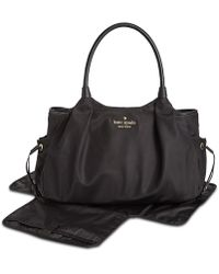 d44fdba38795 Kate Spade Stevie Striped Leather-trim Baby Bag in Black - Lyst