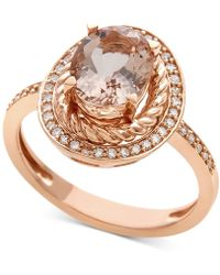 Macy's - Morganite (1-1/2 Ct. T.w.) & Diamond (1/5 Ct. T.w.) Ring In 14k Rose Gold - Lyst