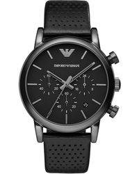 Emporio Armani - Men's Chronograph Perforated Black Leather Strap Watch 41mm Ar1737 - Lyst