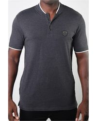 Members Only Teddy Collar Metal Button Polo - Gray