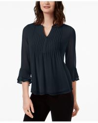 Charter Club - Petite Pleated Bell-sleeve Top, Created For Macy's - Lyst