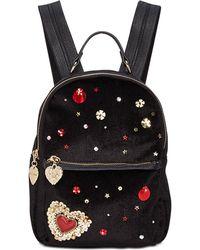 Betsey Johnson Heart Velvet Backpack - Black