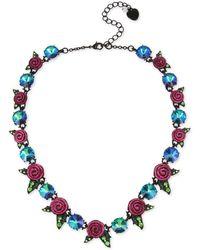 Betsey Johnson Rose & Stone Collar Necklace - Blue