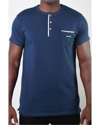 Members Only Basic Henley 3 Button Pocket Tee - Blue