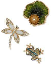 Anne Klein - Gold-tone 3 Pc. Set Crystal & Enamel Garden Themed Pins, Created For Macy's - Lyst