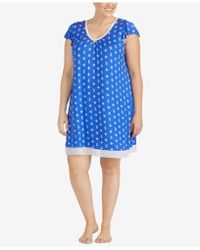 Ellen Tracy - Plus Size Printed Chiffon-hem Short Nightgown - Lyst