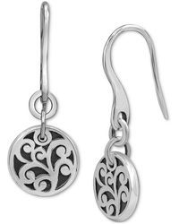 Lois Hill Decorative Scroll Disc Drop Earrings In Sterling Silver - Metallic