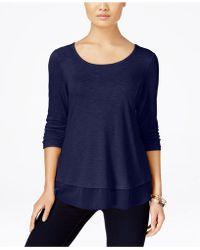 Style & Co. - Petite Chiffon-hem Three-quarter-sleeve Top - Lyst