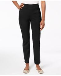 Charter Club Petite Pull-on Ponté-knit Pants, Created For Macy's - Black